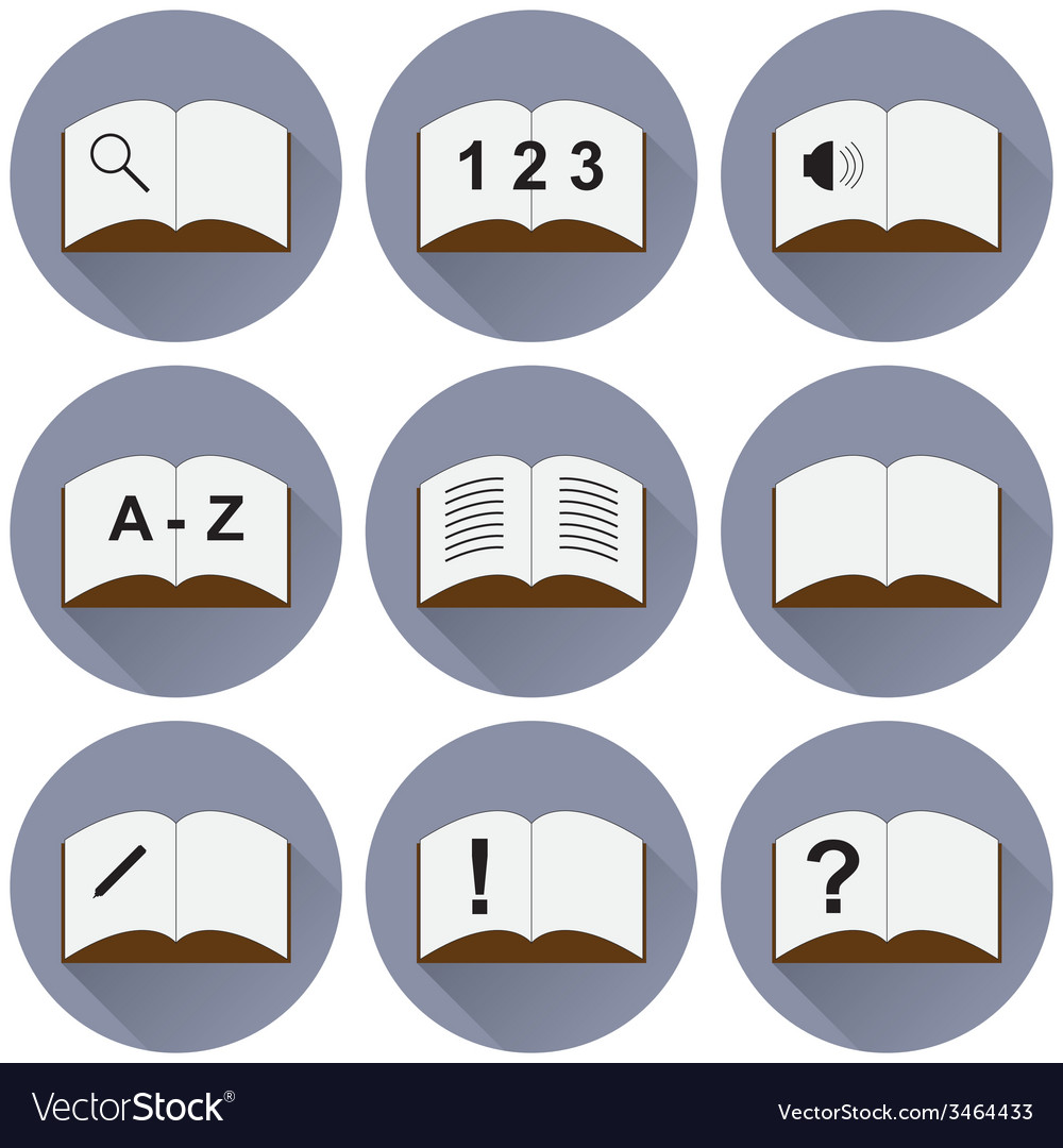 Set of icons with a book vector | Price: 1 Credit (USD $1)