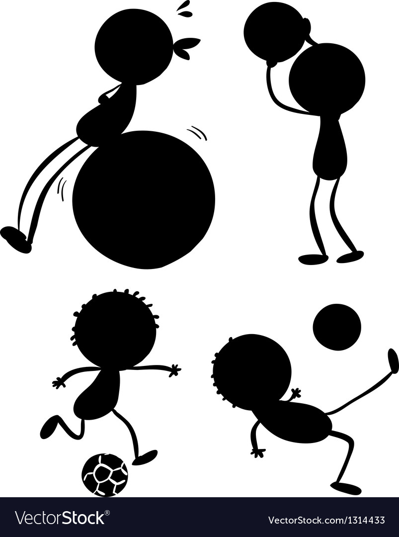 Silhouettes of sporty people vector | Price: 1 Credit (USD $1)