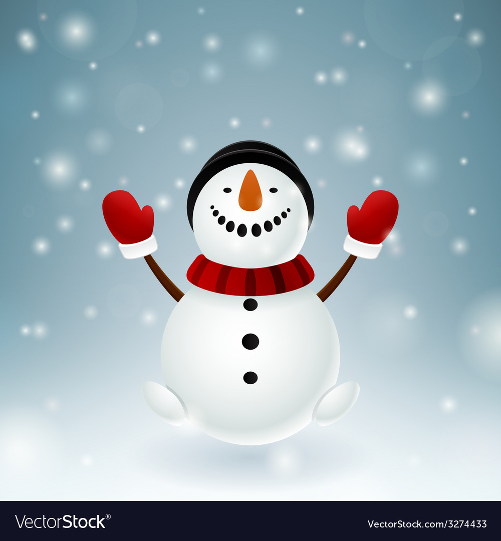 Smiley snowman with red mittens vector | Price: 1 Credit (USD $1)