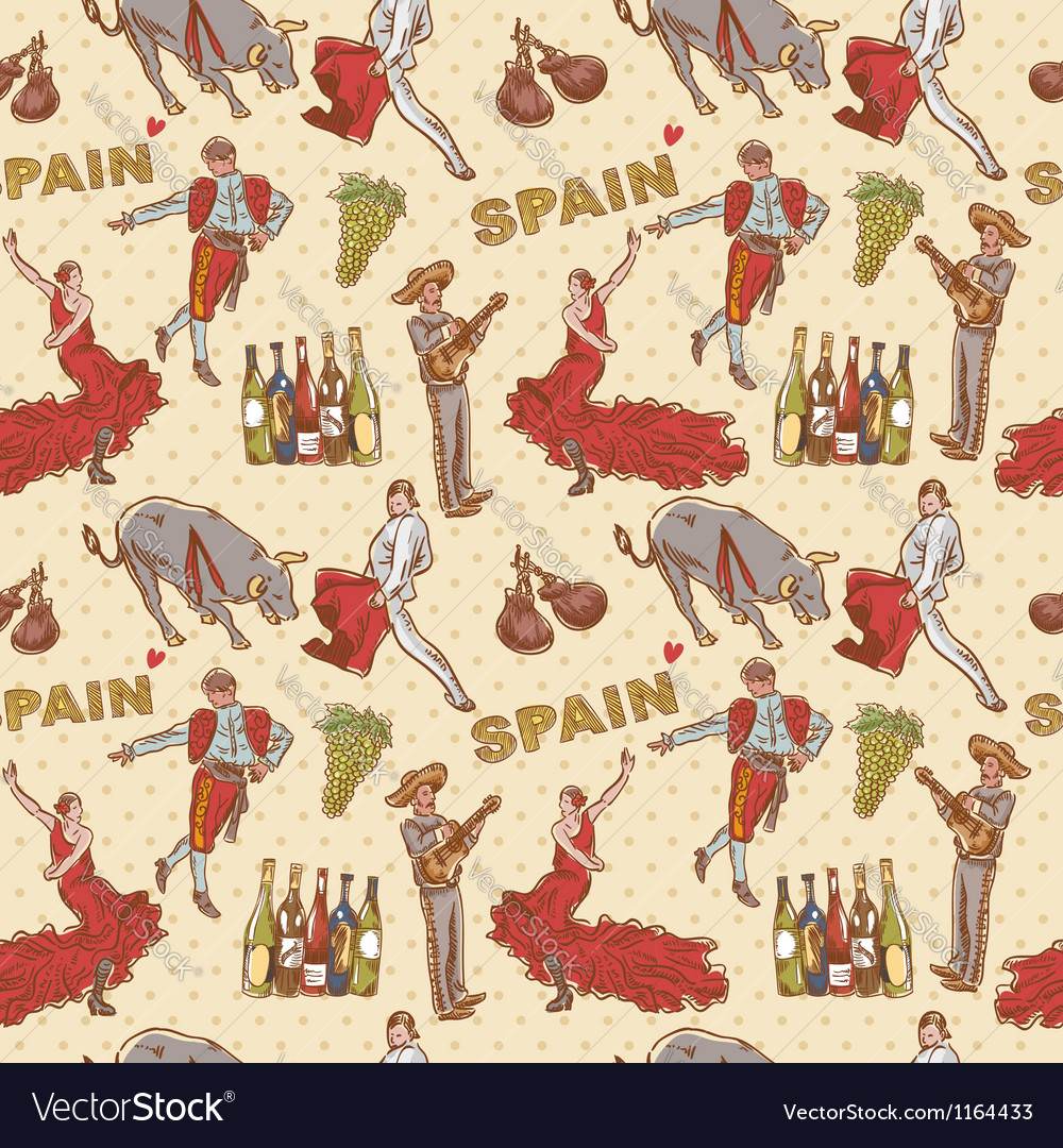 Spain seamless repeating pattern vector | Price: 3 Credit (USD $3)