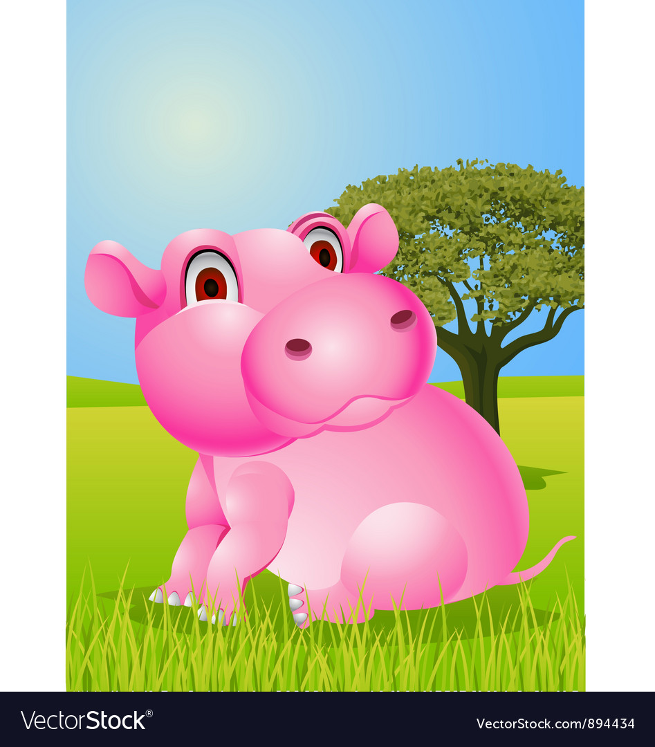 Baby hippo cartoon vector | Price: 3 Credit (USD $3)