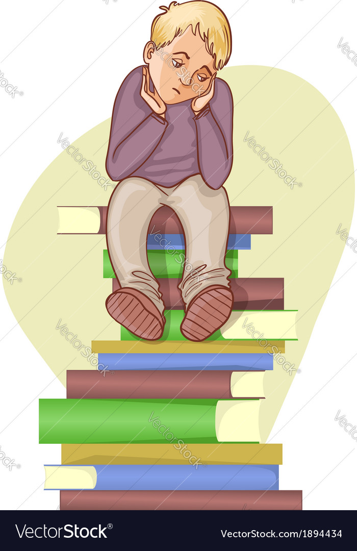 Boy is under stress with lot of books to read vector | Price: 1 Credit (USD $1)