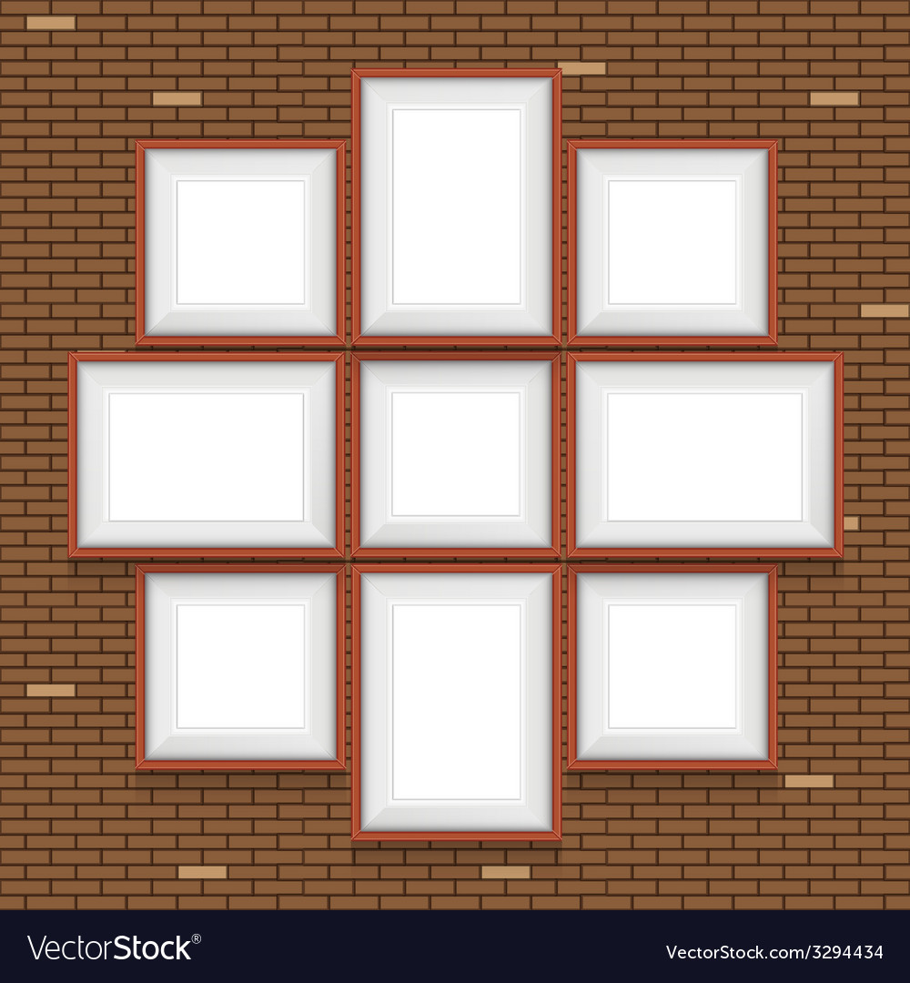 Collage of picture frames on the brick wall set vector | Price: 1 Credit (USD $1)