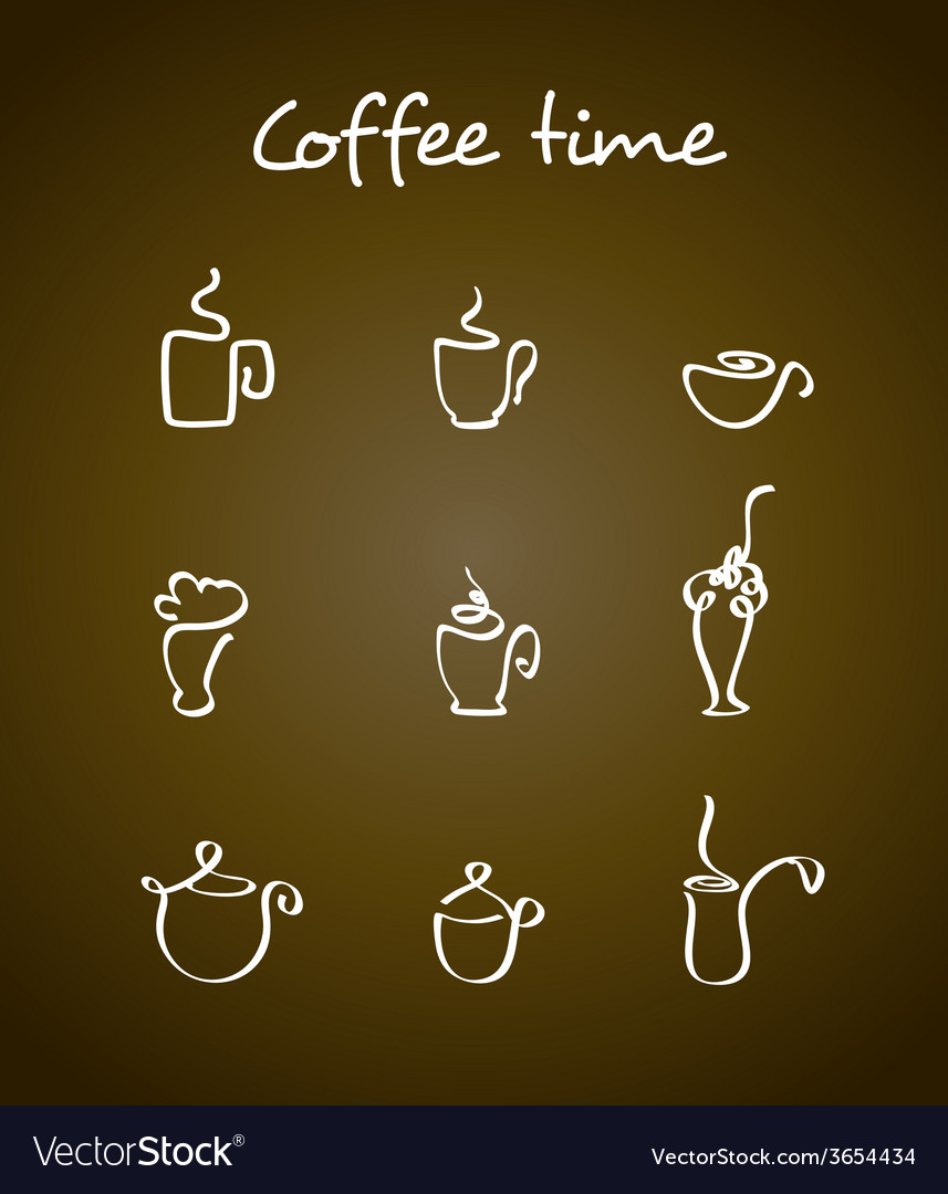 Cups and coffee pots vector | Price: 1 Credit (USD $1)