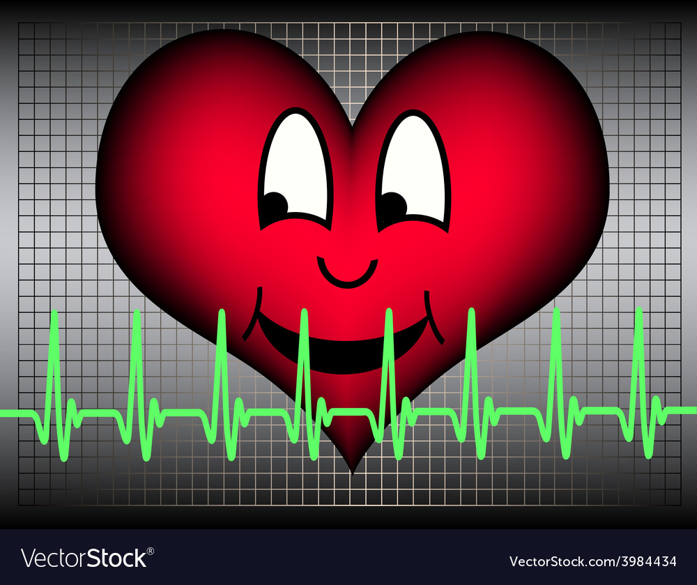 Laughing heart with green cardio line vector | Price: 1 Credit (USD $1)