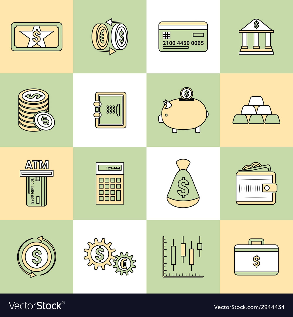 Money finance icons flat line vector | Price: 1 Credit (USD $1)