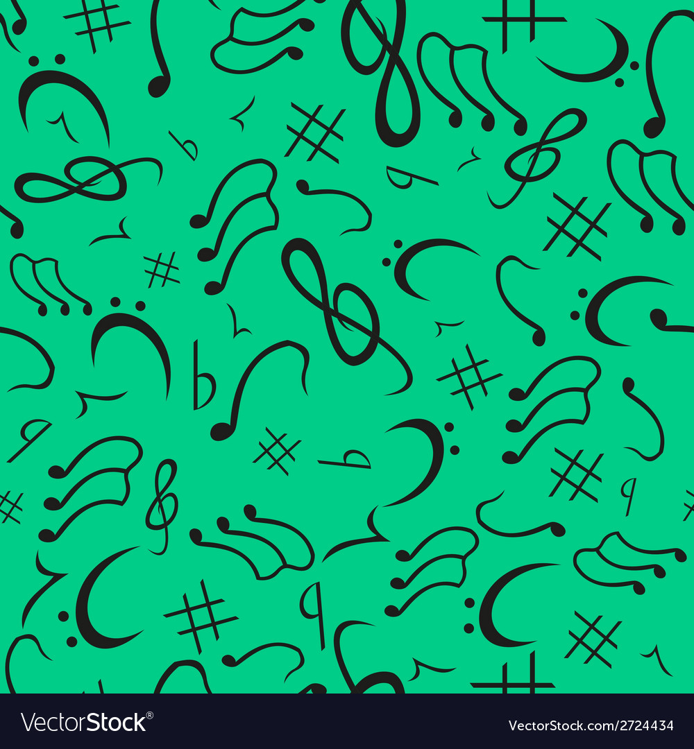 Musical notes seamless pattern emerald vector | Price: 1 Credit (USD $1)