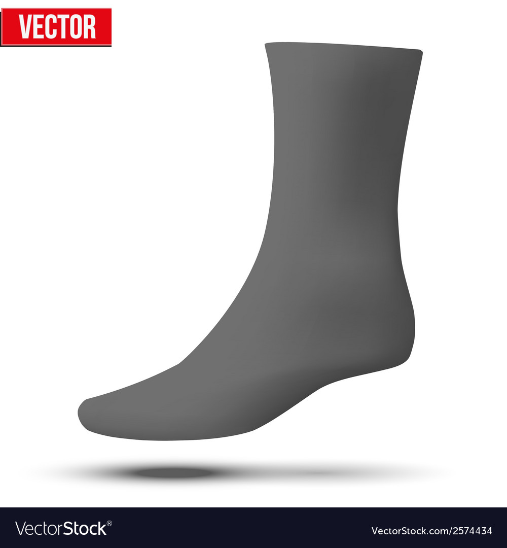 Realistic layout of black sock a simple example vector | Price: 1 Credit (USD $1)