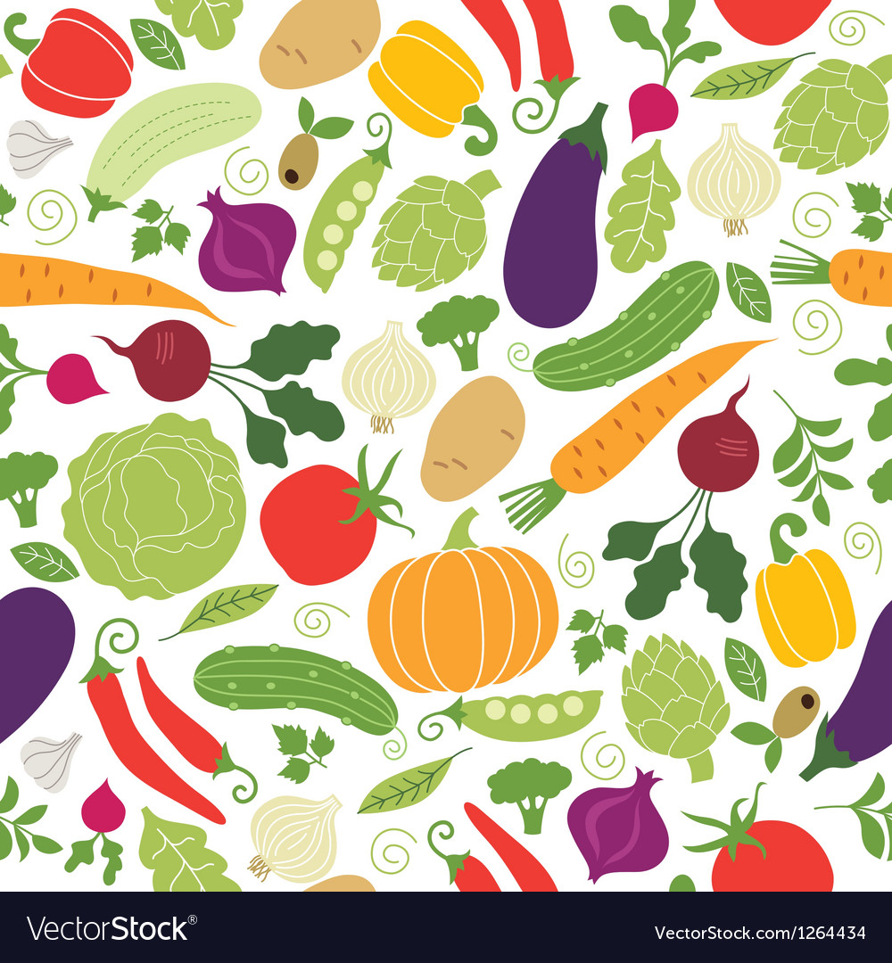 Seamless pattern with vegetables vector | Price: 3 Credit (USD $3)