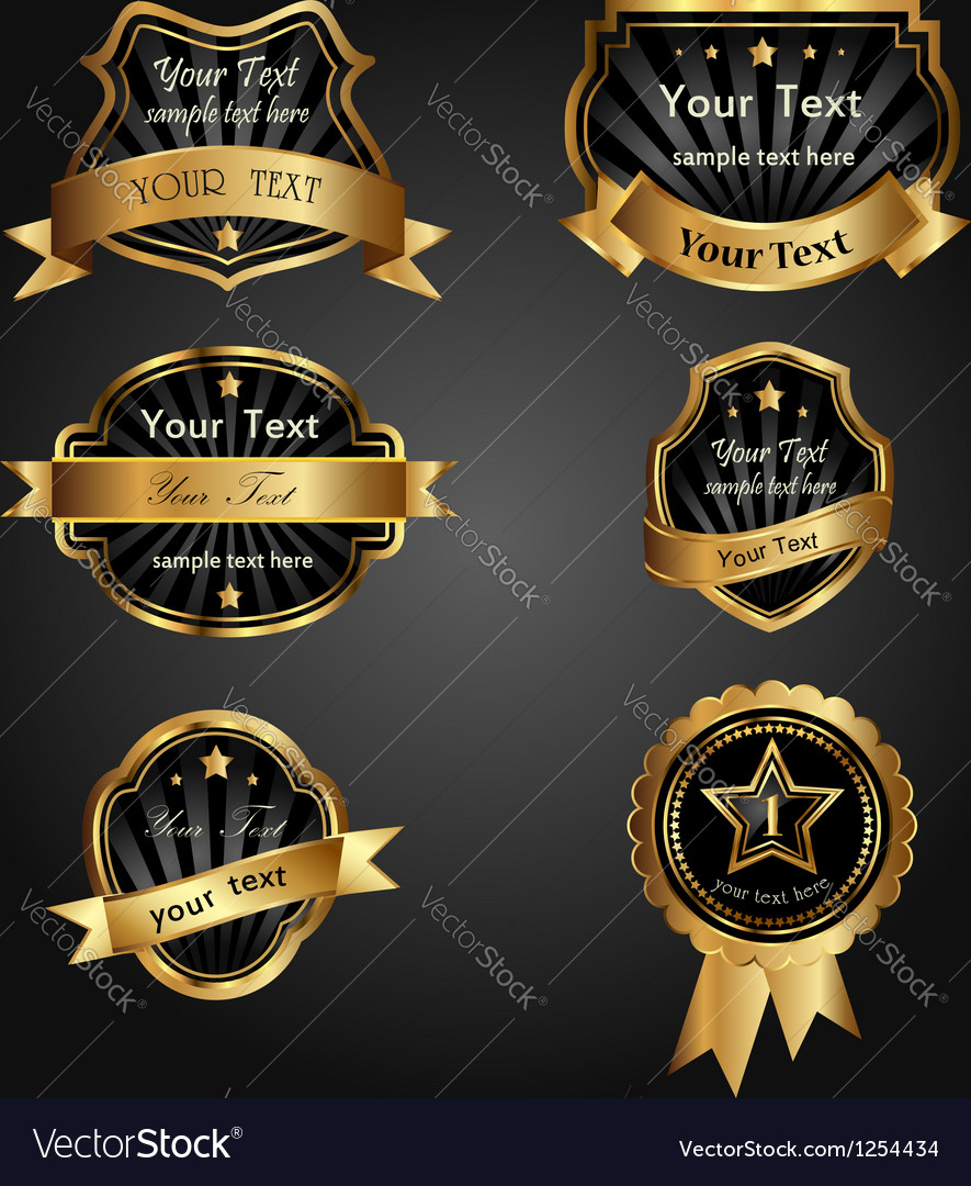 Set black goldframed labels vector