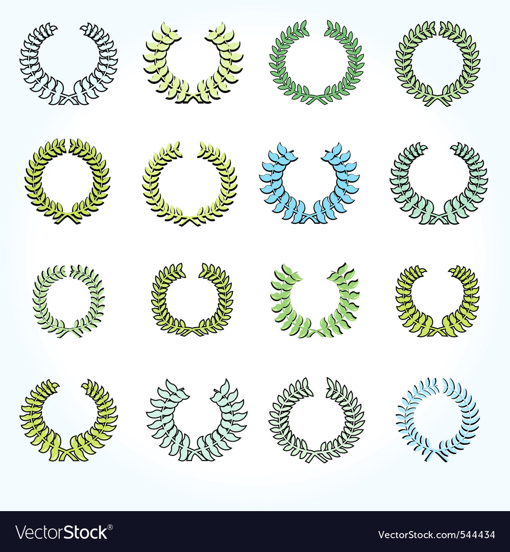 Set of crown laurel wreaths vector | Price: 1 Credit (USD $1)