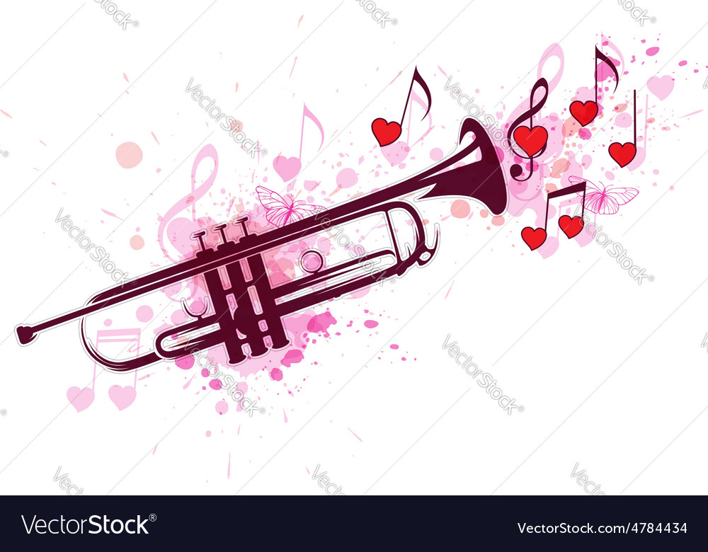 Trumpet notes and red hearts vector | Price: 1 Credit (USD $1)