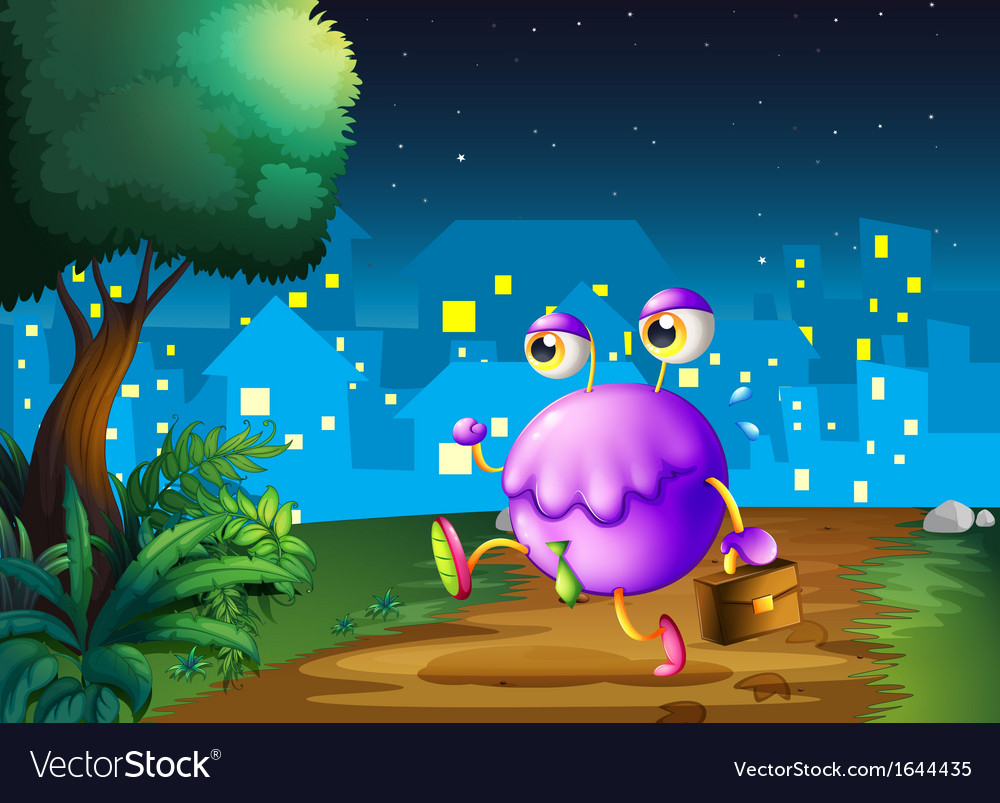 A purple monster holding a bag walking in the vector | Price: 1 Credit (USD $1)