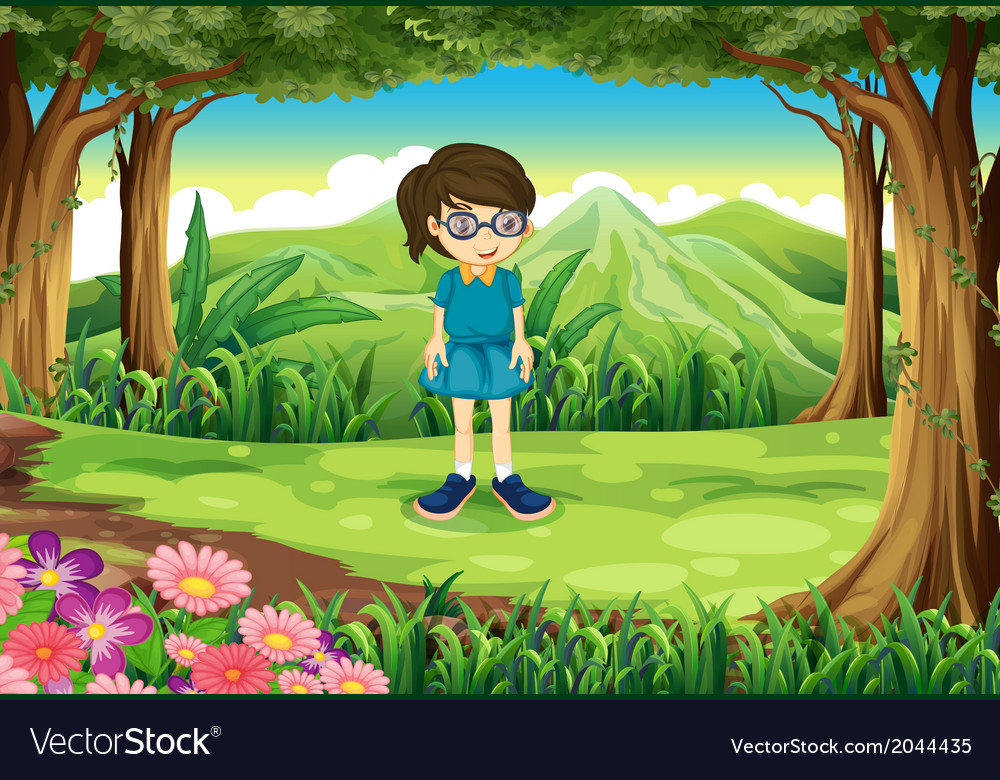A schoolgirl in the middle of the forest vector | Price: 3 Credit (USD $3)