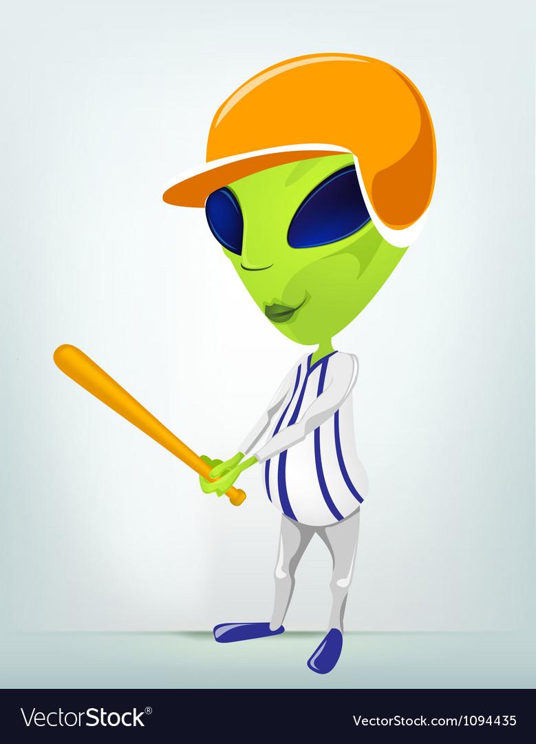 Cartoon alien baseball vector