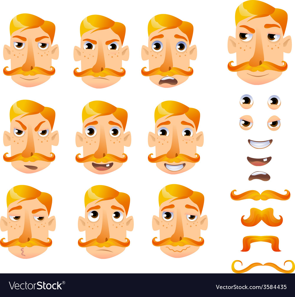 Cartoon faces for humor vector | Price: 1 Credit (USD $1)