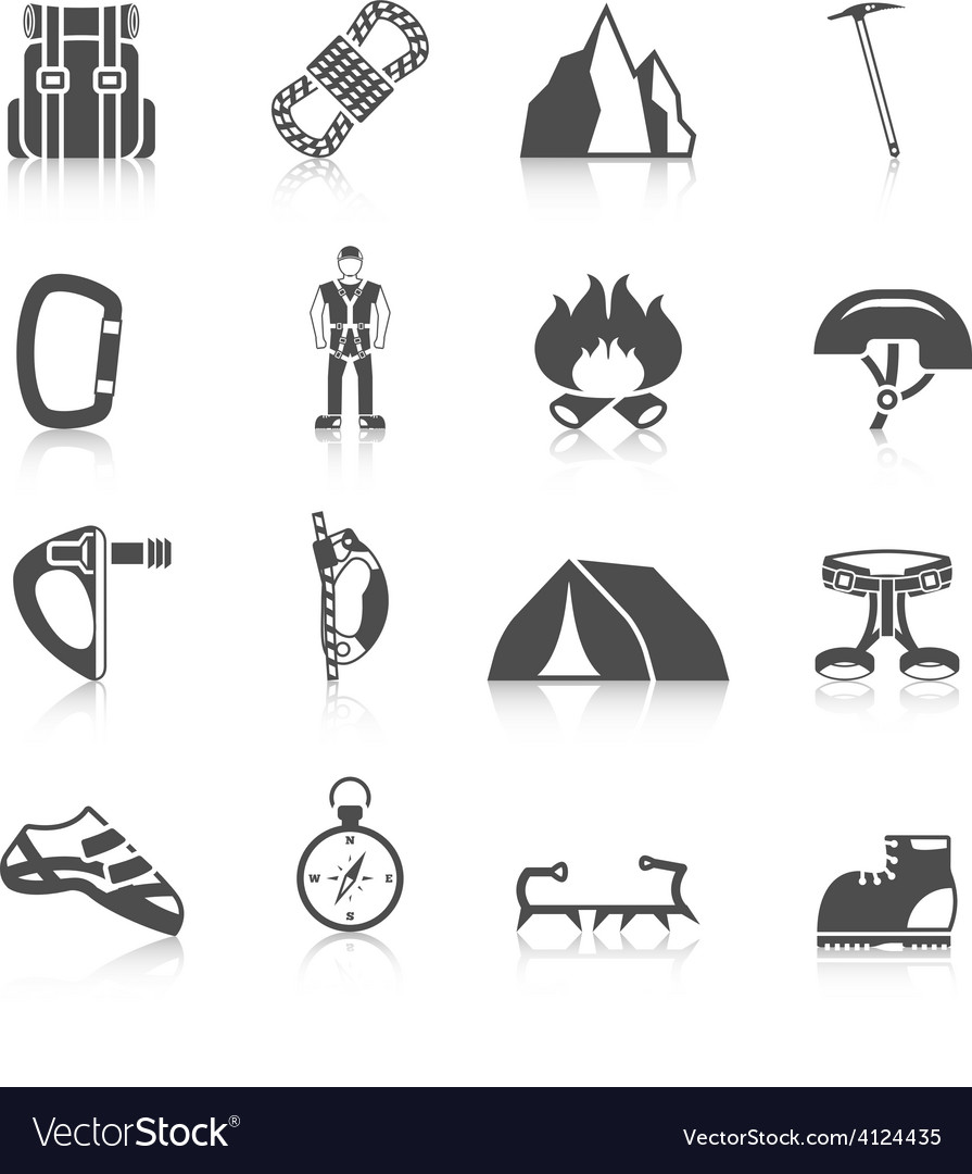 Climber gear equipment icons black vector | Price: 1 Credit (USD $1)
