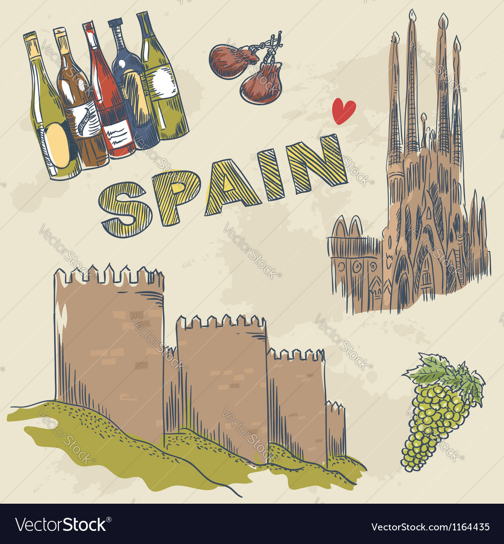Collection of spanish sightseeings and objects vector | Price: 3 Credit (USD $3)