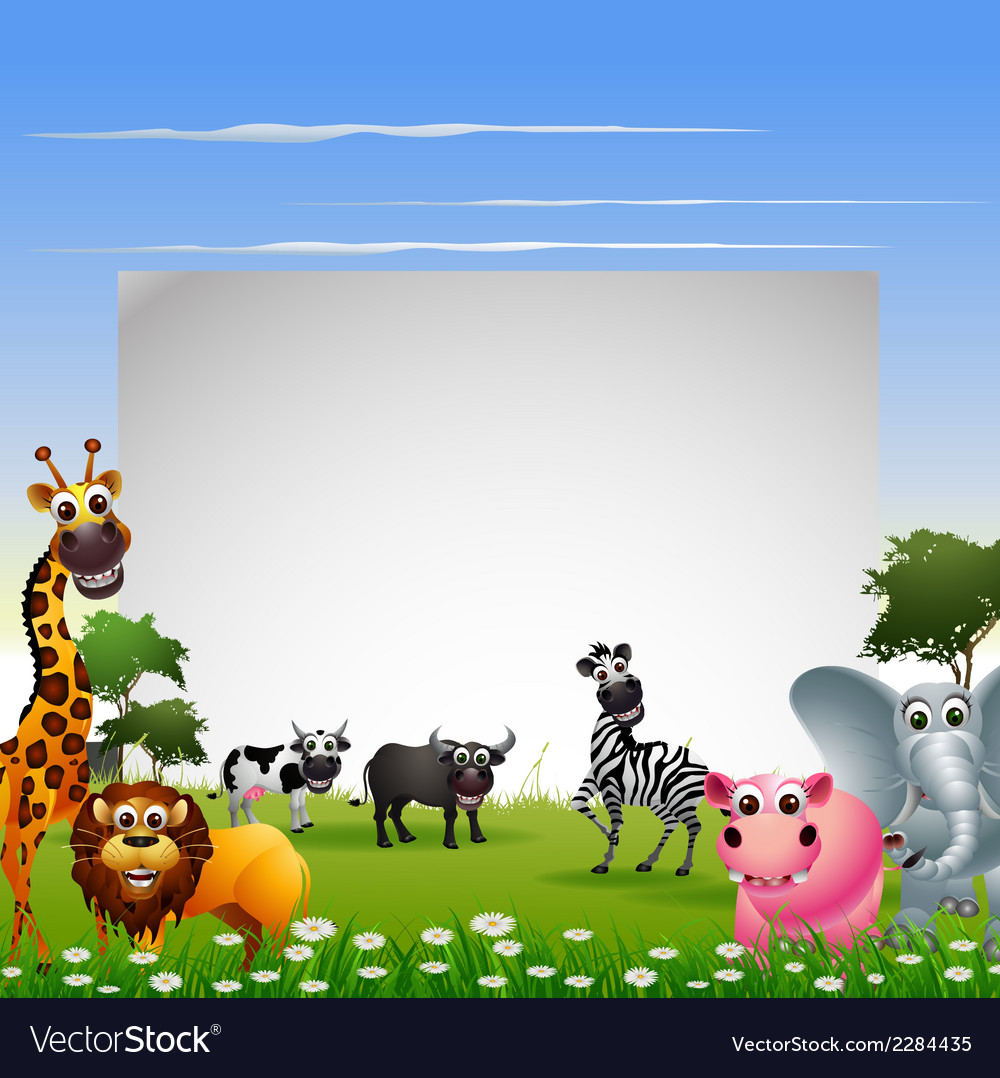 Cute animal cartoon collection with blank sign and vector | Price: 3 Credit (USD $3)