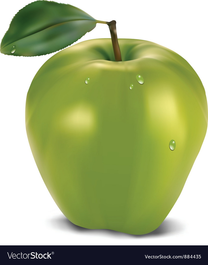 Fresh green apple with leaf vector | Price: 1 Credit (USD $1)