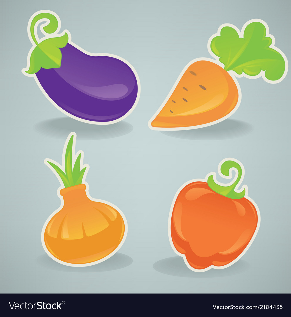 Glossy cartoon vegetables vector | Price: 1 Credit (USD $1)