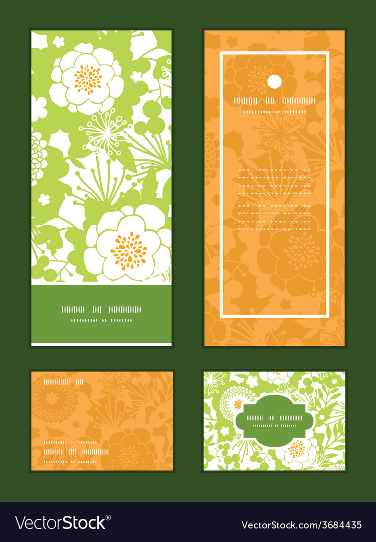 Green and golden garden silhouettes vertical frame vector | Price: 1 Credit (USD $1)