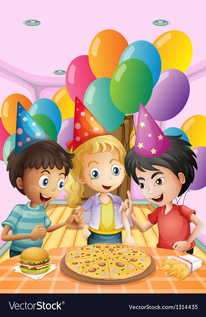 Kids celebrating a birthday with a pizza burger vector | Price: 1 Credit (USD $1)