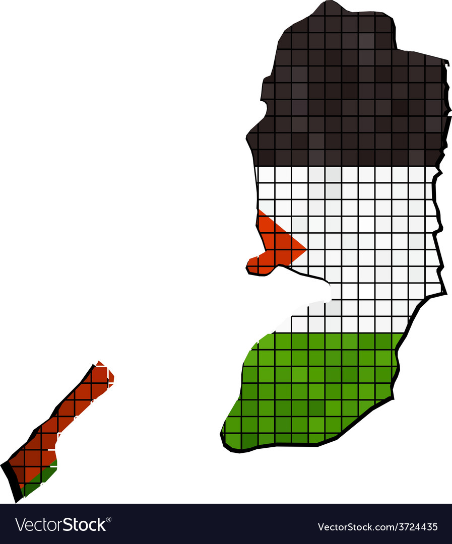 Map with palestinian flag inside vector | Price: 1 Credit (USD $1)