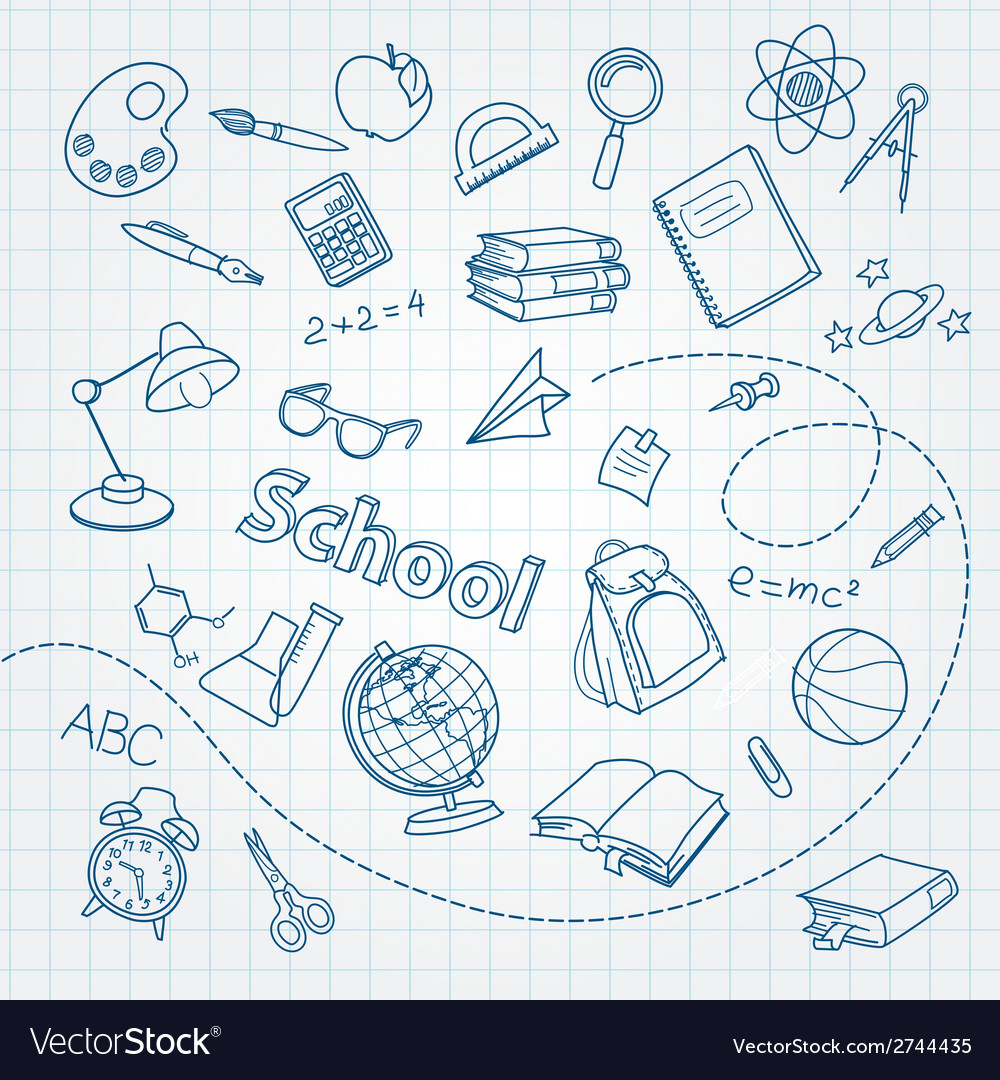 School doodle on notebook page background vector