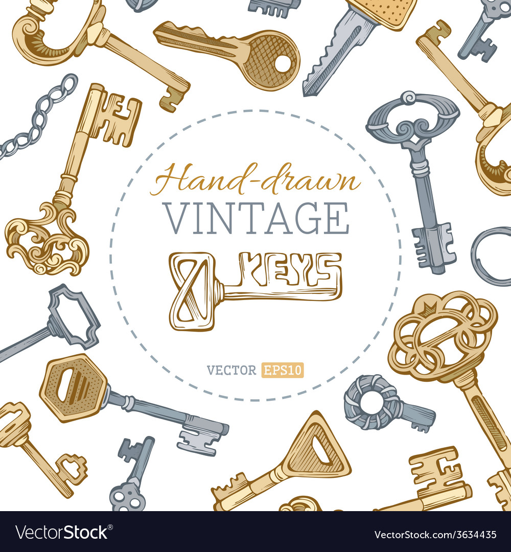 Vintage keys background vector | Price: 1 Credit (USD $1)