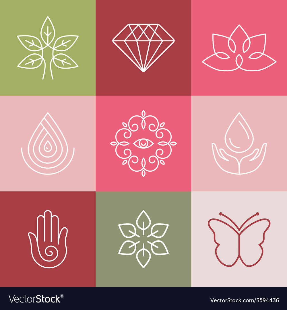 Beauty and spa line logos vector | Price: 1 Credit (USD $1)