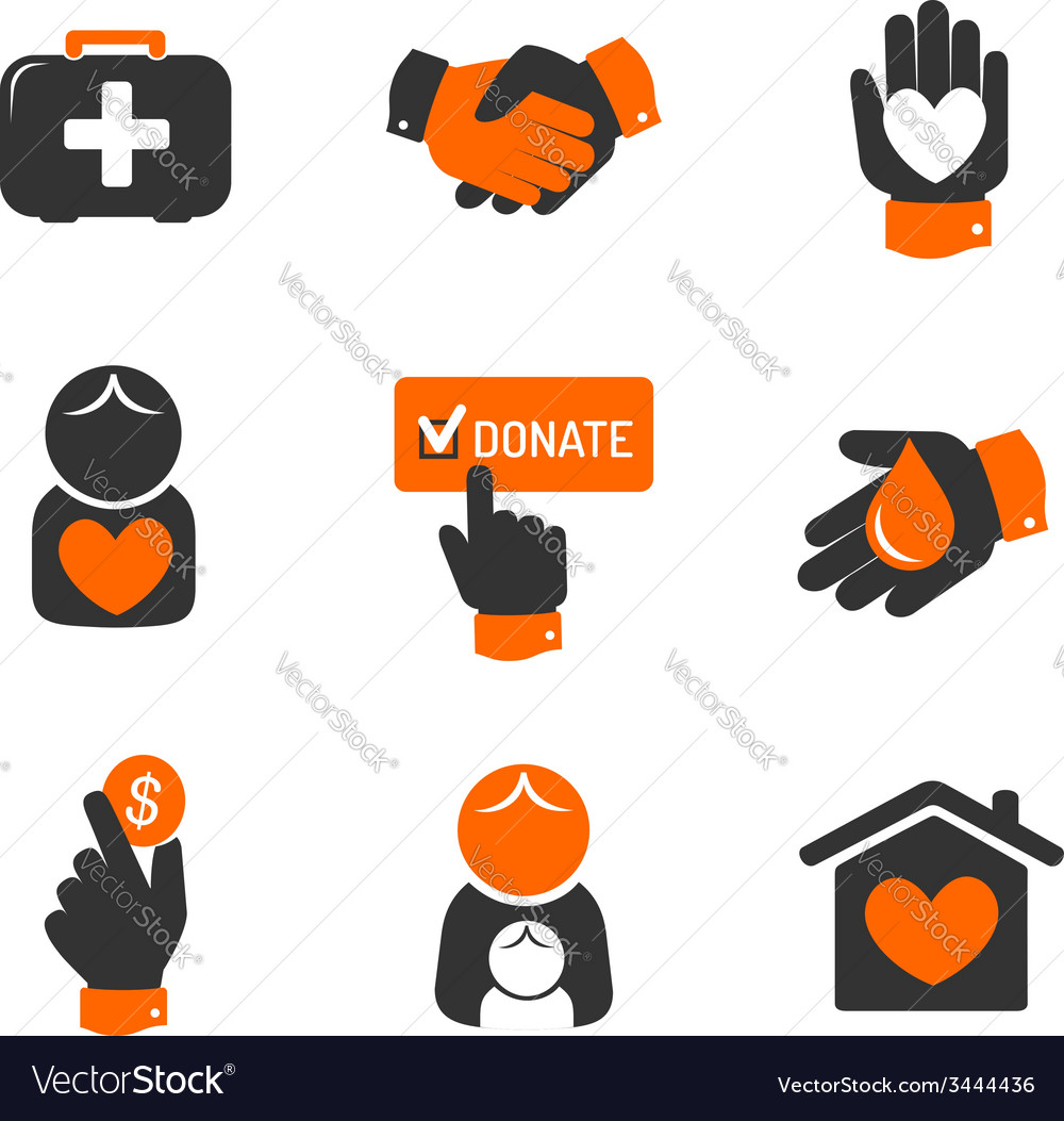 Charity and donation icons vector | Price: 1 Credit (USD $1)