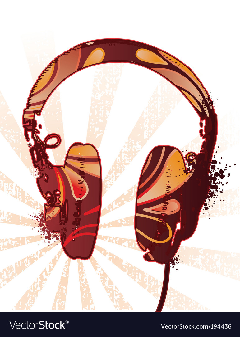 Decorated headphones vector | Price: 1 Credit (USD $1)
