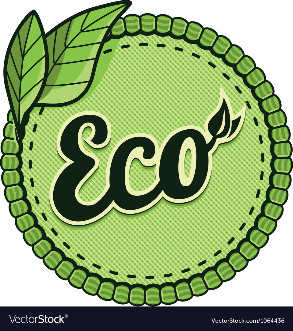Ecology label - eco sign and text on round vector | Price: 1 Credit (USD $1)