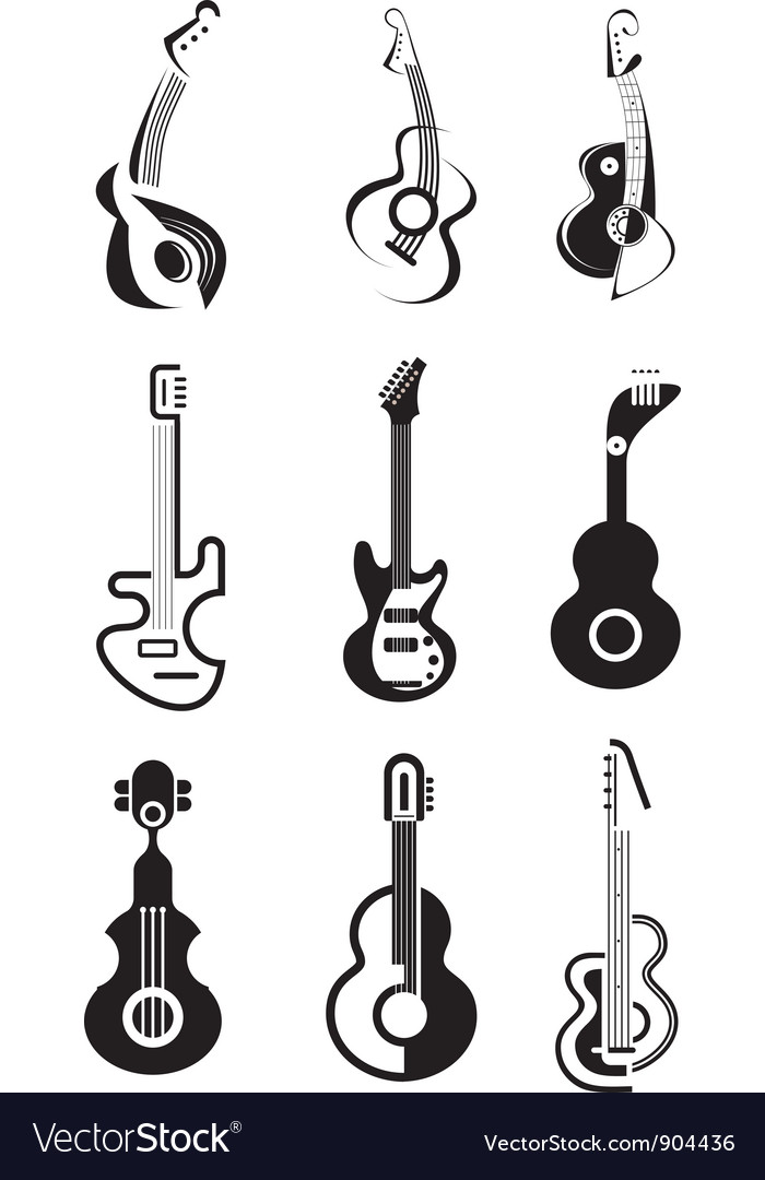 Guitar icon set vector | Price: 1 Credit (USD $1)