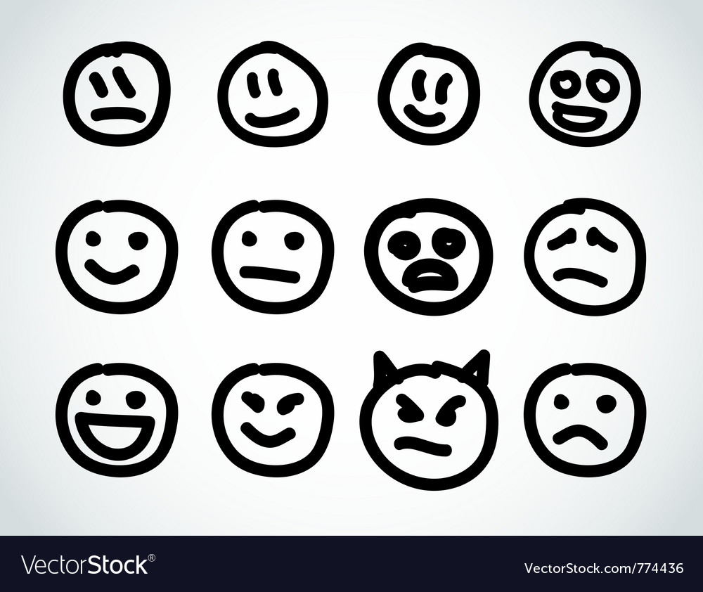 Hand drawn smile face design elements vector | Price: 1 Credit (USD $1)