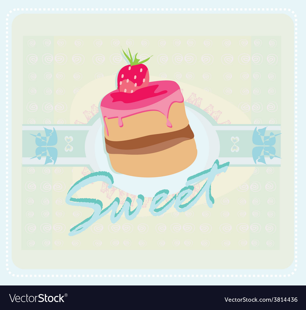 Lovely cake - vintage card design vector | Price: 1 Credit (USD $1)