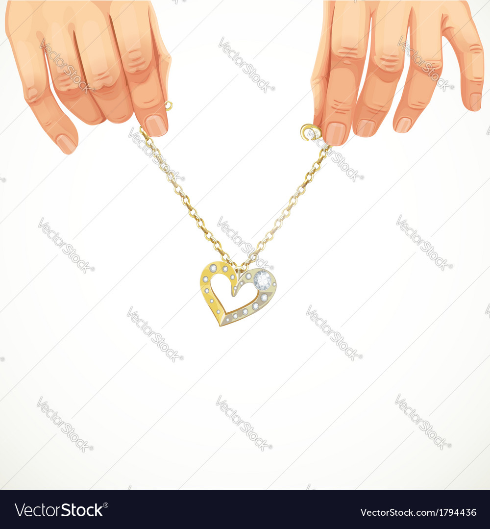 Male hands holding a gold chain bracelet with vector | Price: 1 Credit (USD $1)