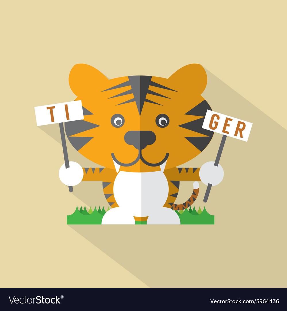 Modern flat design tiger icon vector | Price: 1 Credit (USD $1)