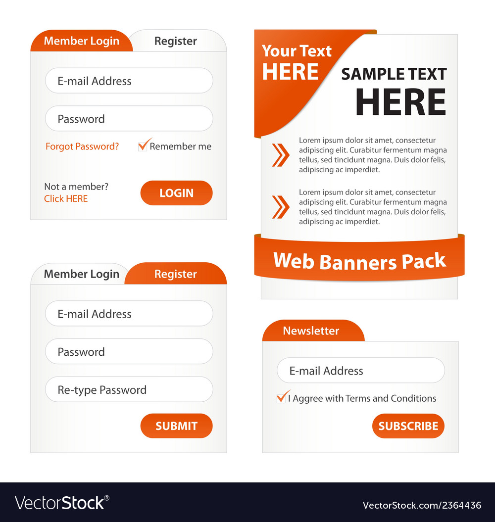 Modern web elements pack vector | Price: 1 Credit (USD $1)