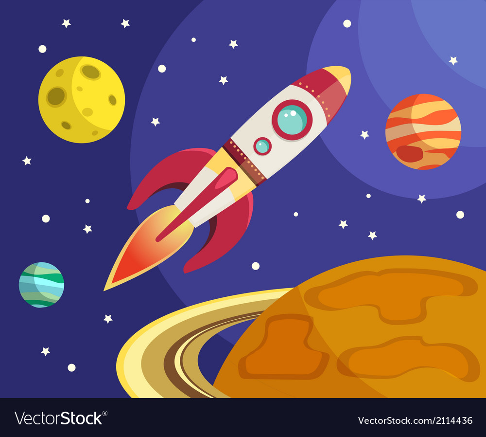 Rocket in space print vector | Price: 1 Credit (USD $1)