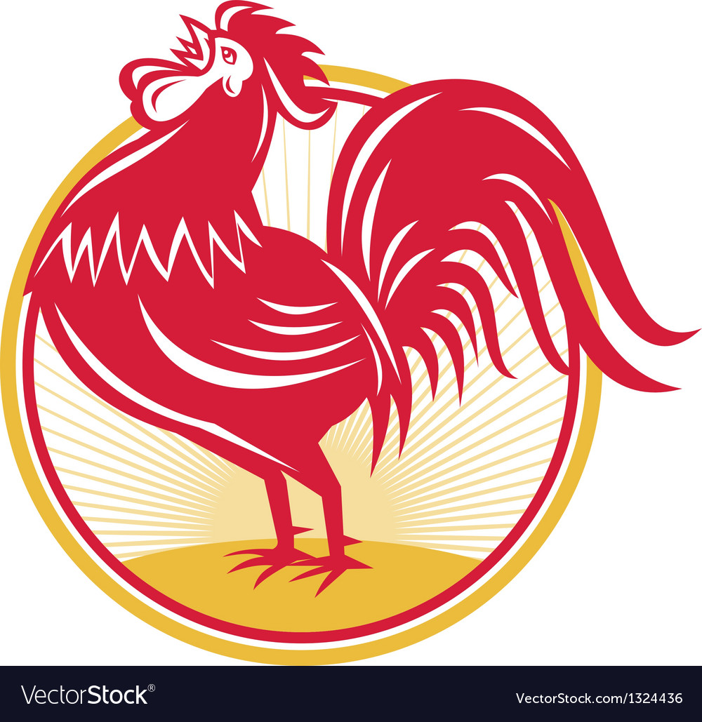 Rooster cockerel crowing retro vector | Price: 1 Credit (USD $1)