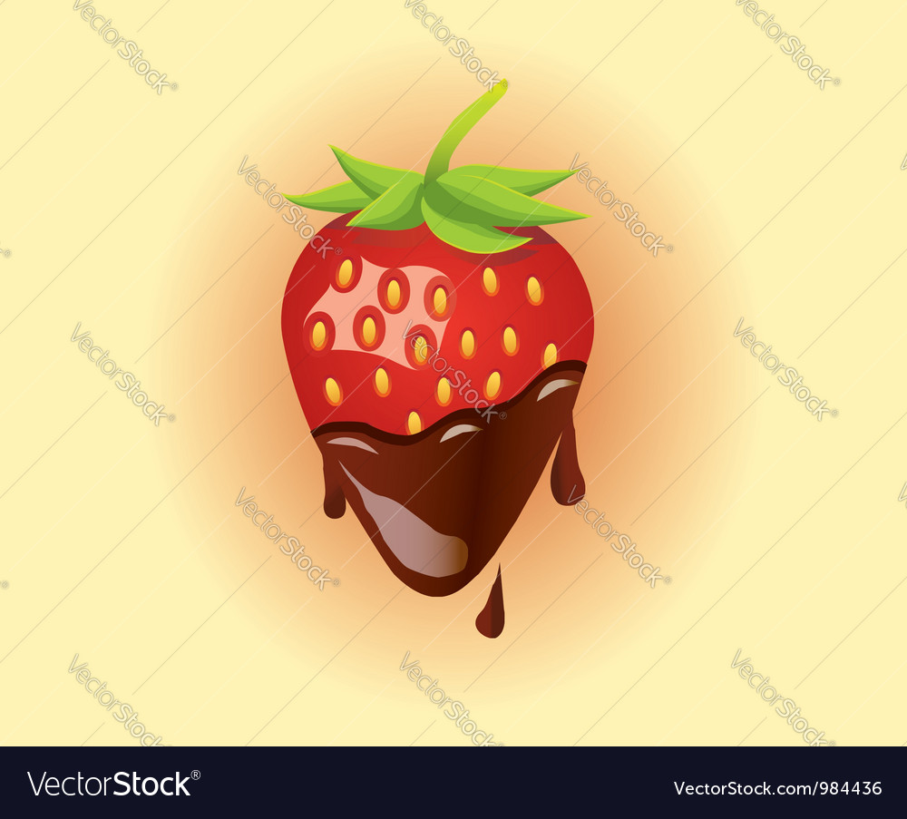 Strawberry with chocolate vector | Price: 1 Credit (USD $1)