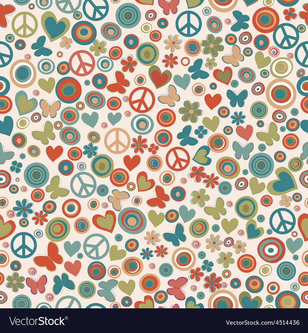Vintage colors flower power background vector