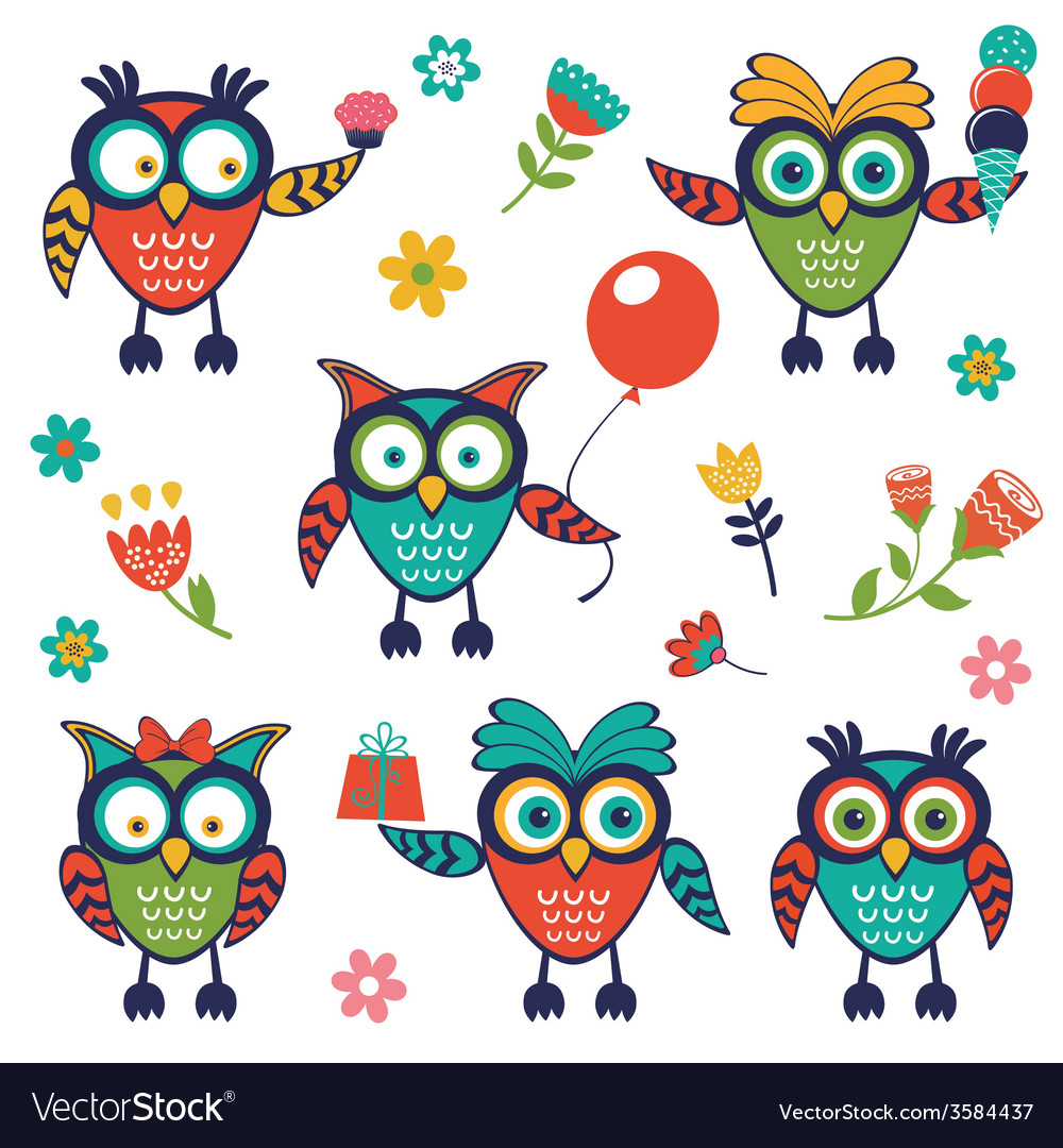 A stylish collection of cute funny owls vector | Price: 1 Credit (USD $1)