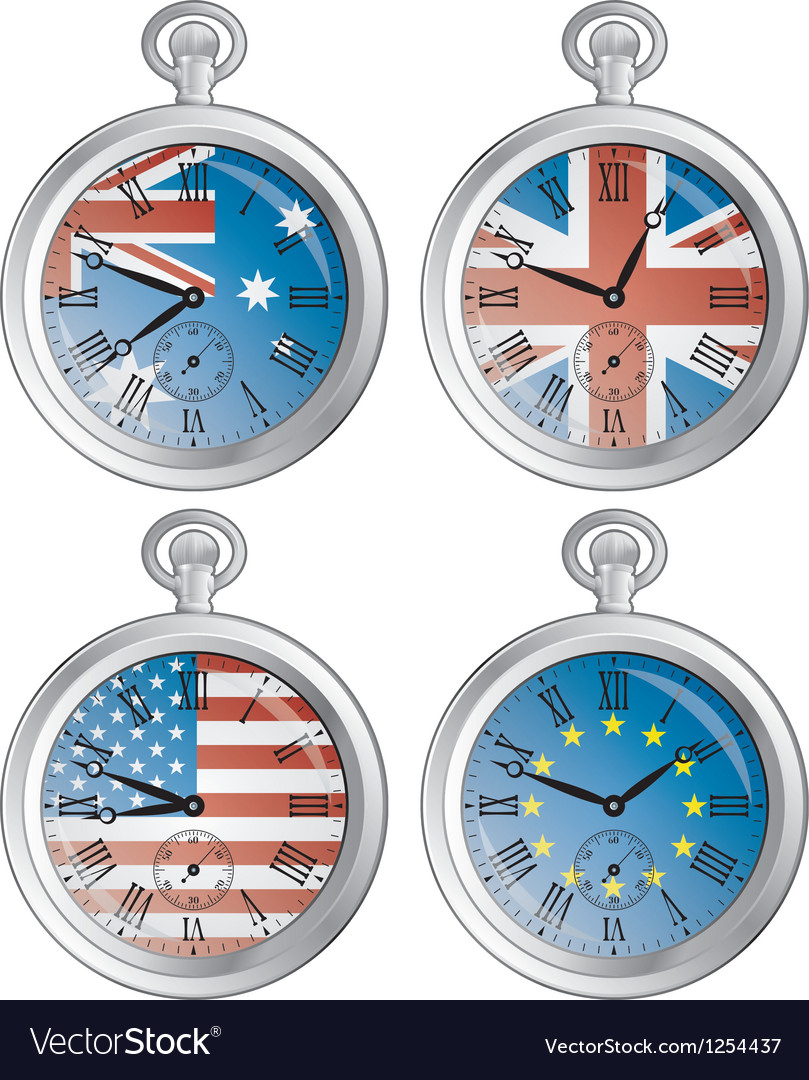 Clocks with flags vector | Price: 1 Credit (USD $1)