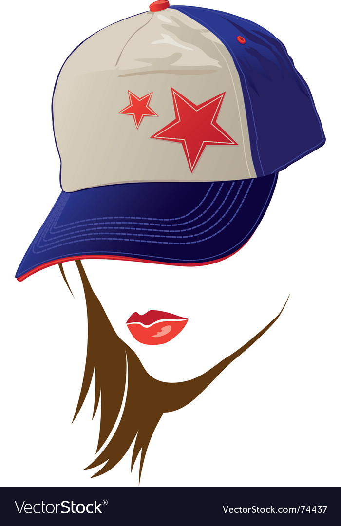 Female face with usa cap vector | Price: 1 Credit (USD $1)