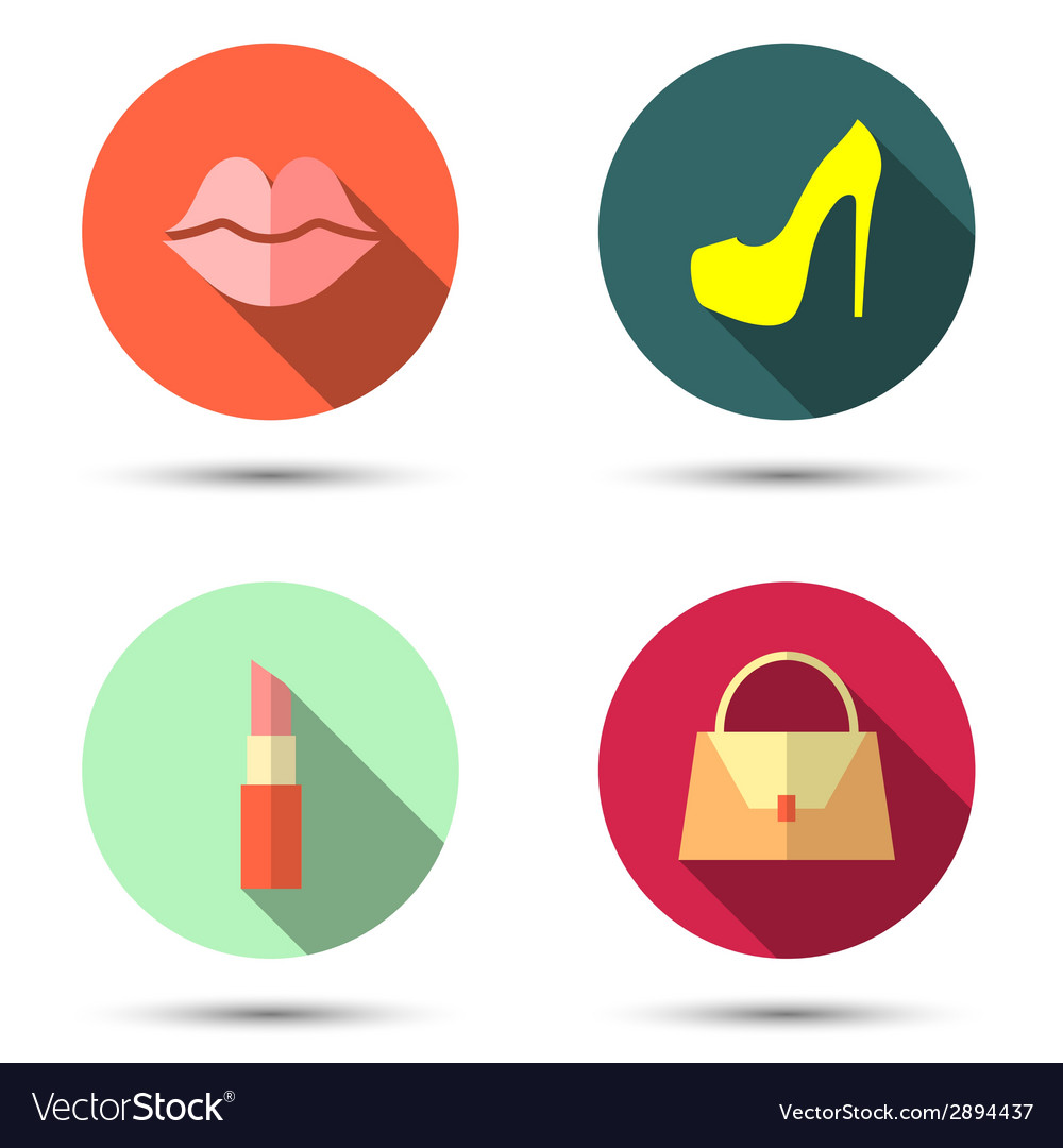 Flat icons with womens accessories vector | Price: 1 Credit (USD $1)