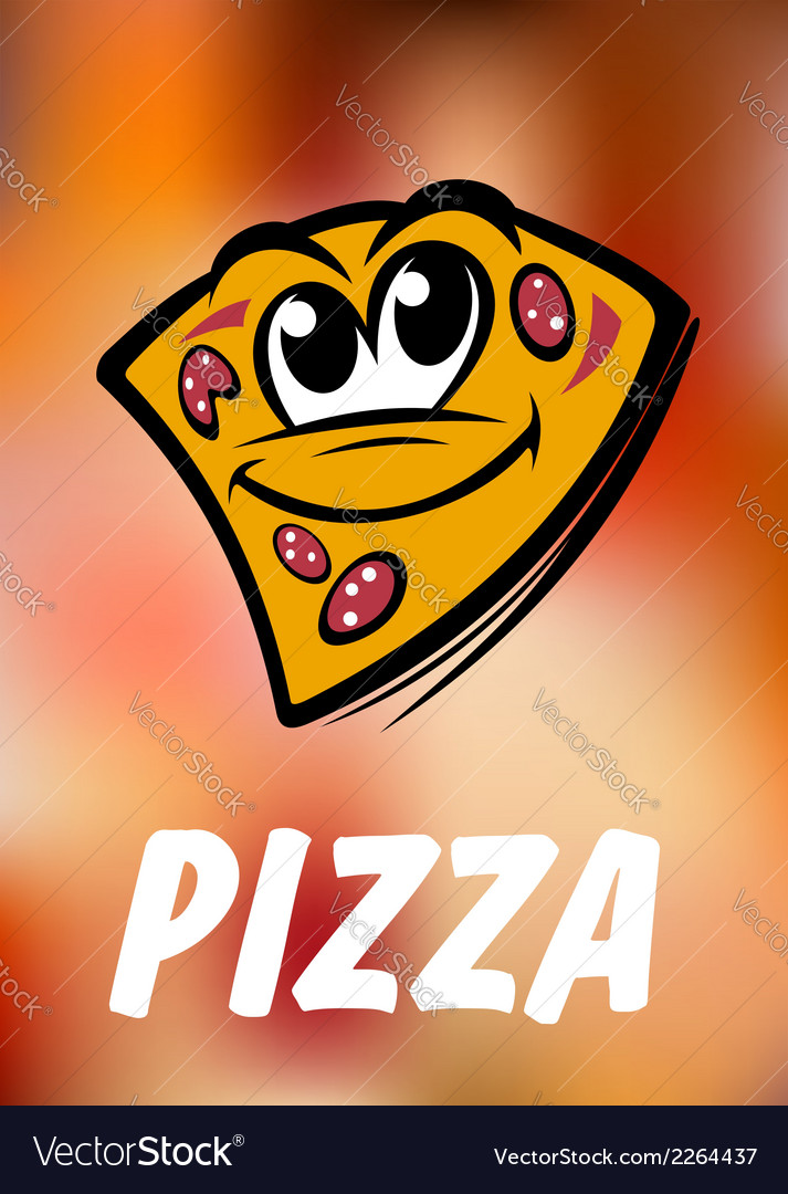 Funny cartoon pizza slice vector | Price: 1 Credit (USD $1)
