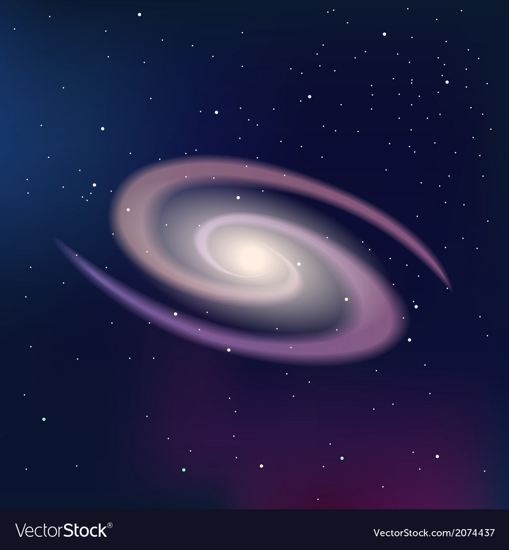 Galaxy on a dark night starry sky vector | Price: 1 Credit (USD $1)